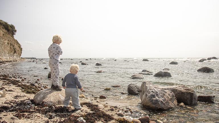 Børn klatrer rundt på klipperne